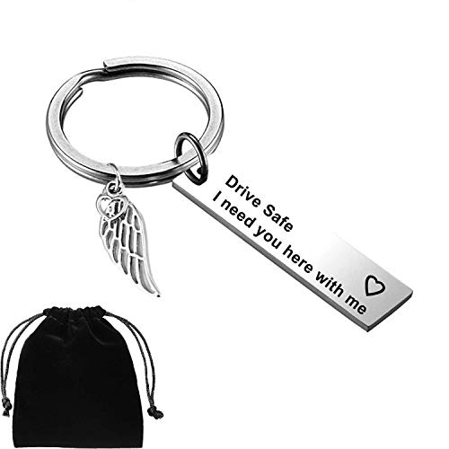 Drive Safe Keychain I Need You Here With Me Birthday Anniversary Valentines Christmas Gift for lovers Wife Husband Dad Mum Boyfriends Girlfriends New Driver Friend Couples for $<!--$7.99-->