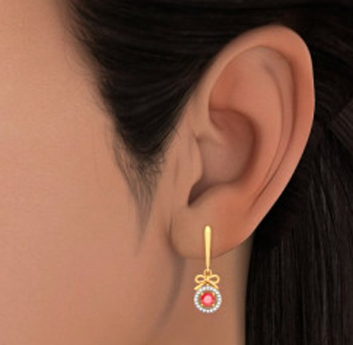 Or jaune 18K 0,2CT TW White-diamond (IJ | SI) et rubis Boucles d'oreille