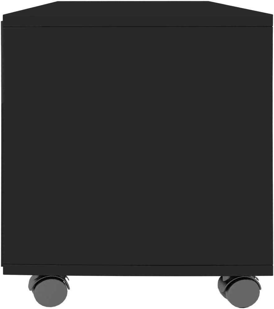 Festnight Meuble TV avec roulettes Meuble de Rangement pour Salon Noir Brillant 90x35x35 cm Agglom/ér/é