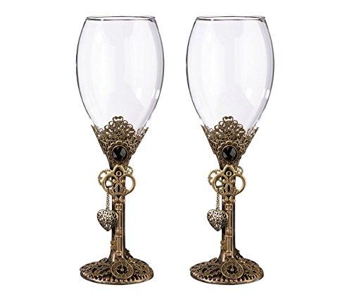 - Lillian Rose Fashionable Unique Vintage Steampunk Wedding Wine Glasses, Multicolor