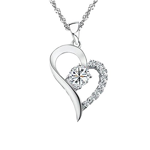 [Charm Rhodium Plated Half with Cubic Zirconia Cz Diamond Accent Sterling Silver Open Heart Pendant Necklace for Women or for Girlfriend with Chain18