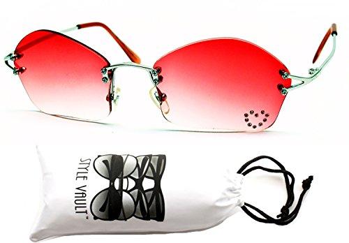 E3012-vp Style Vault Rhinestone Metal Rimless Sunglasses (B1356F Silver-red)