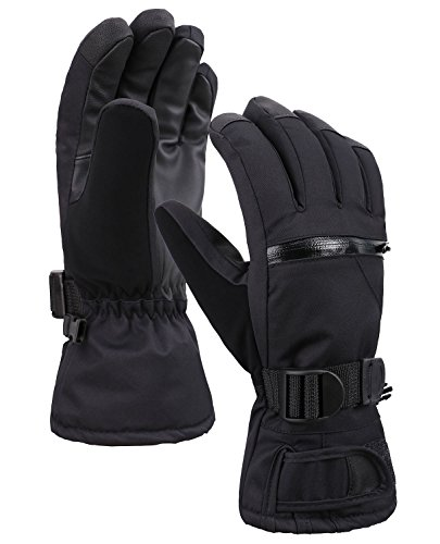 Verabella Snow Gloves Thinsulate Lined Waterproof Outdoors Ski Gloves,Black,XL