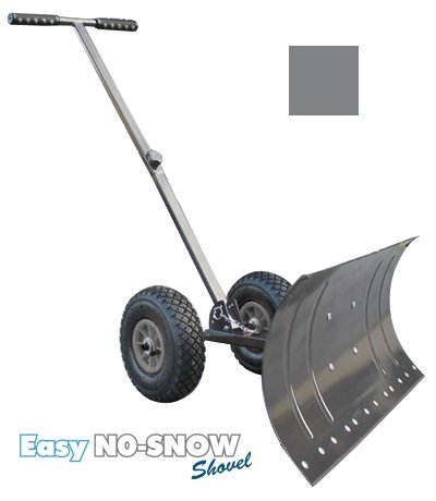 Heavy Duty Rolling Snow Shovel with Rotatable Steel Blade, 5 Way Adjustable Handle