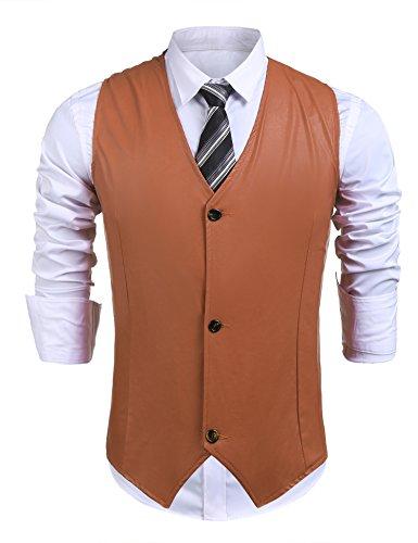Mens Brown Leather Vest - 1