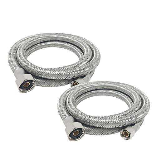 "[2-Pack] PROCURU 36"" Length x 3/8"" Compression x 1/2"" FIP Faucet Supply Connector, Braided Stainless Steel Lead Free PCFC381236-2 (36-Inch)"