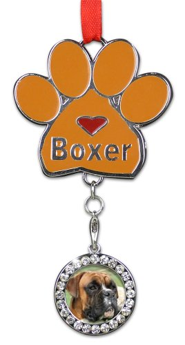 BANBERRY DESIGNS Boxer Christmas Ornament - I Love My Boxer Pawprint with a Photo Charm - Dog Christmas Ornament ()