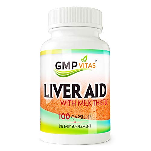 GMPVitas Premium Liver Support with Milk Thistle Supplements- Milk Thistle,Vitamin C & B - Support Liver Health & Function 100 Capsules (1) (Liver Aid)