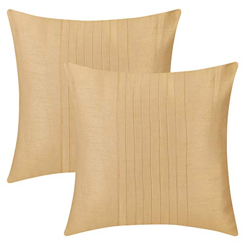 The White Petals Set of 2 Euro Sham Gold with Pin Tucks Panel (26X26 inches, Gold) (Gold Sham)