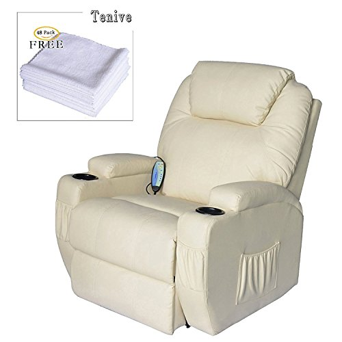 Price comparison product image Tenive Deluxe Heated Vibrating PU Leather Massage Recliner Chair Sofa with 8 Nodes and 360 Degree Swivel Rocker, Cream