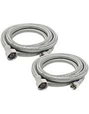 """[2-Pack] PROCURU 48"""" Length x 3/8"""" Comp x 1/2"""" FIP Faucet Supply Connector, Braided Stainless Steel Lead Free PCFC381248-2 (48-Inch)"""