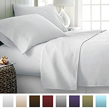Park Hotel Collection Luxury Soft Brushed 2100 Series Microfiber Sheet Set - Hypoallergenic - Queen - White