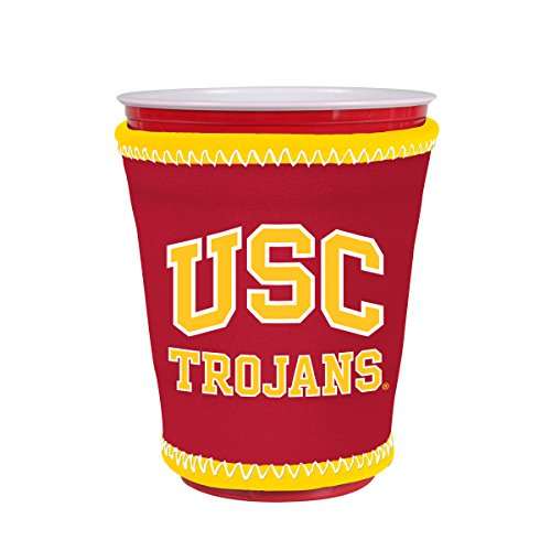 (Kolder NCAA Logo Coolie Cup Holder Sleeve Fitting Plastic Cups, Pint Glasses, Coffee Cups, Ice Cream, Etc. - Neoprene and Bottomless (USC Trojans))