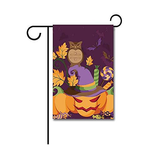 Kafepross Happy Halloween Owl in Witch Hat Garden Flag Pumpk