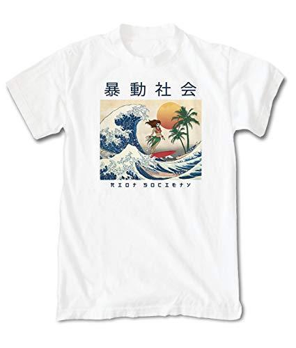 Riot Society Men's Wave Rider Short Sleeve Graphic T-Shirt - White, Small (Odd Tshirts Future)