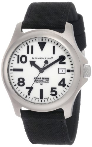 - Momentum Men's 1M-SP00W6B Atlas White Dial Black Cordura Watch