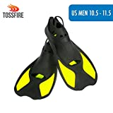 Snorkel Fins Short Floating Swimming Fins Adults for US Size Men 10.5-11.5 Width Ankle 3.3' with Lightweight Thermoplastic Rubber Pool for Snorkeling Swimming Diving Snorkeling Watersports – Yellow