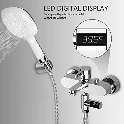 TOOGOO Led Display Shower Thermometer Flow Self-Generating Waterproof Digital Water Temperature Meter Tester Monitor Bath Thermometers