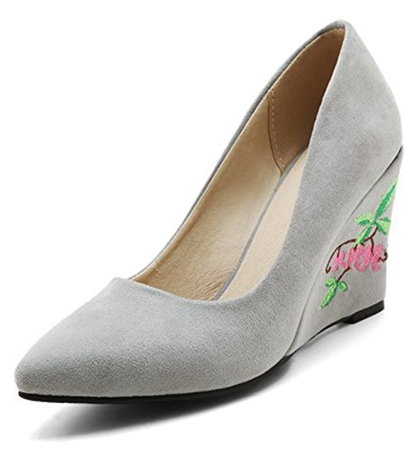 Pumps Womens Flower Dressy Toe Gray Shoes Pointed On Elegant High Heel Aisun Wedge Embroidered Slip Low Cut Fqfq6