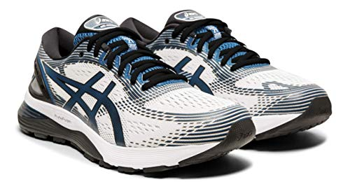 ASICS Gel-Nimbus 21 Men's Running Shoes, White/Deep Sapphire, 13 W US