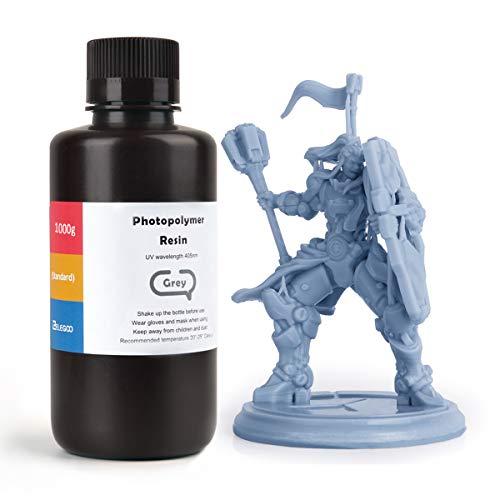 ELEGOO ABS-Like 3D Printer Rapid Resin LCD UV-Curing Resin 405nm Standard Photopolymer Resin for LCD 3D Printing 1000Gram Grey