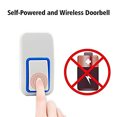 Forcovr Wireless Self-powered Doorbell Kits No Batteries Required for Both Transmitter and Receiver,Battery Free Waterproof Doorbell and Chime with 25 Ring Tunes, 3 Sounds Level (White)