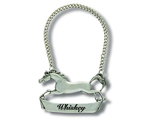 Vagabond House Pewter Galloping Steed WHISKEY Decanter Tag/Liquor Bottle Label 3