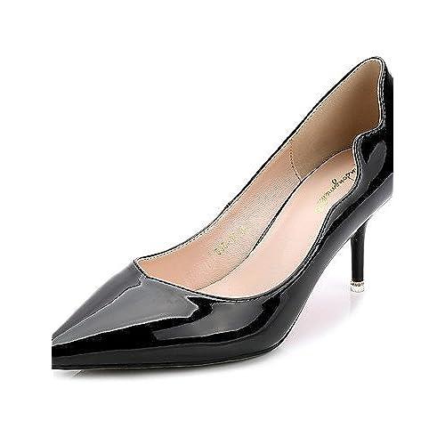 Ggx/femme Chaussures PU d'été Bout Pointu talons décontracté Chaton Talon Applique Noir/bleu/gris/bordeaux