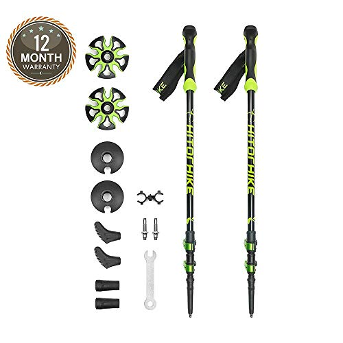 Hitorhike Trekking Poles Aircraft 7075 Aluminum Alloy Collapsible Hiking/Walking Stick with Replaceable Tungsten Carbides Tip (2 Poles)