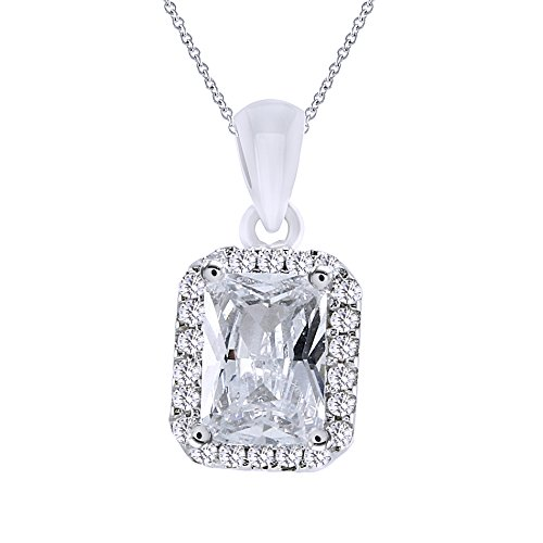 AFFY Dainty Emerald Cut Cubic Zirconia Halo Pendant Necklace In 925 Sterling Silver