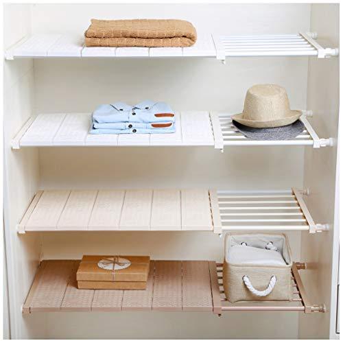 Closet Adjustable Shelves - HyFanStr Adjustable Storage Rack Expandable Separator Shelf for Wardrobe, Cupboard, Bookcase Compartment Collecting (Length:28.7