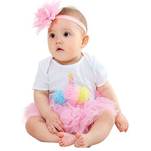 - Short Sleeve Bodysuit Romper Playsuit & Tutu Skirts & Flower Headband Outfit Set for Baby Girl Newborn Infants (Pink, S)
