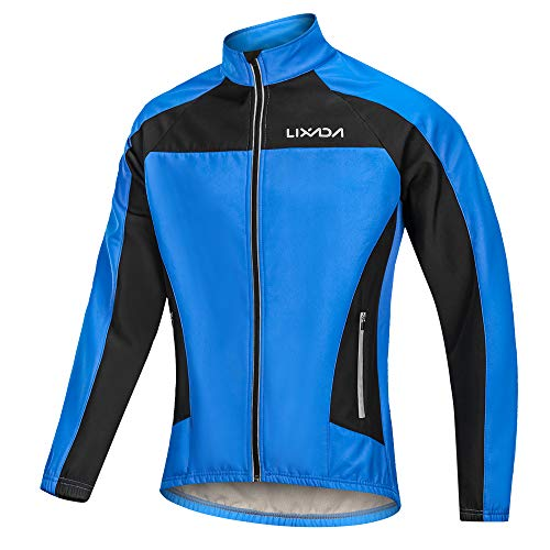 bc502669a Lixada Men s Winter Warm UP Cycling Jacket Windproof Thermal Fleece Long  Sleeve Bicycle Wind Coat