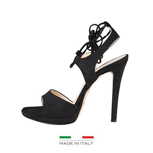 Made In Italia - ERICA Damen-Schnürsenkel-Sandalen Fersen 10 cm, Plateau 1 cm Schwarz
