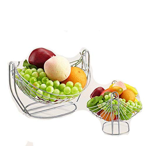 "304 Stainless Steel Round Cradle Hanging Metal Fruit Container Basket Simple Art Dryer Organizer Vegetable Rack Storage Tray Swing Holder Table Bowl Artificial Display Cool Gif(11""x 9.25""x 6.9"")"
