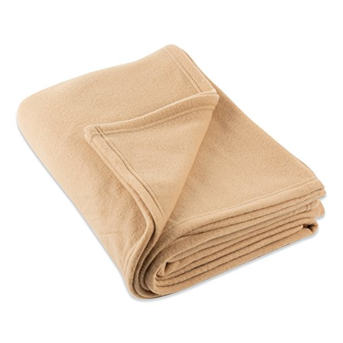 J&M Home Fashions Luxury Solid Twin/Twin XL Fleece Blanket or Throw (60x96 - Tan) Ultra Soft, Cozy, Warm for Bed, Couch, Sofa, Camping, Beach