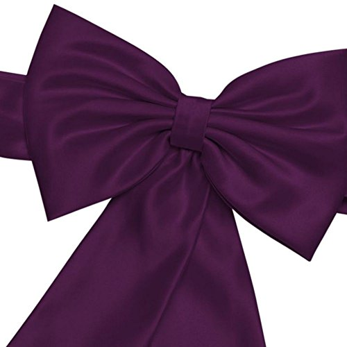 Satin Flower Girl Sash with Back Bow Style S1041, Plum (Plum Kids Dress)