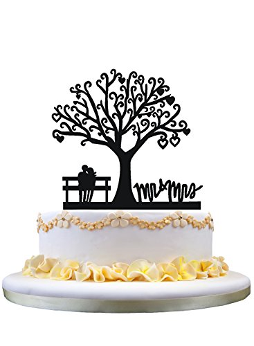 (Couple sitting in Bench under tree wedding cake topper,Mr & Mrs topper)