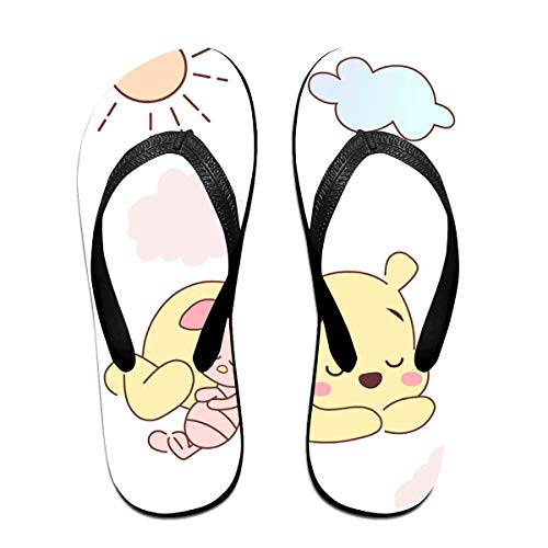 JINUNNU Unisex Flip Flops Glitter Sandals Winnie The Pooh Classical Comfortable Slipper for Women/Men Black