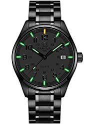 PASOY Mens Luminous Tritium Watch Waterproof Sapphire Glass Black Stainless Steel Military Watches 40MM