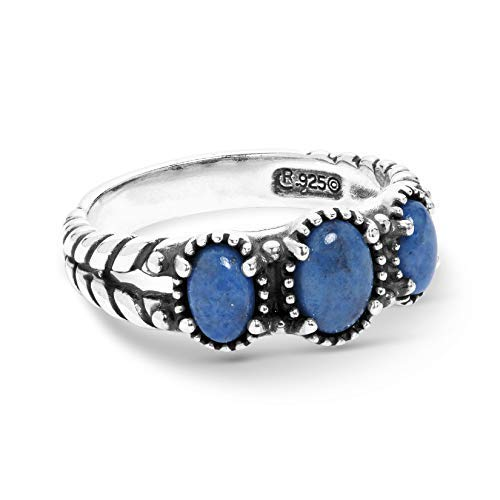 American West Sterling Silver Blue Denim Lapis Gemstone 3-Stone Friendship Ring Size 10