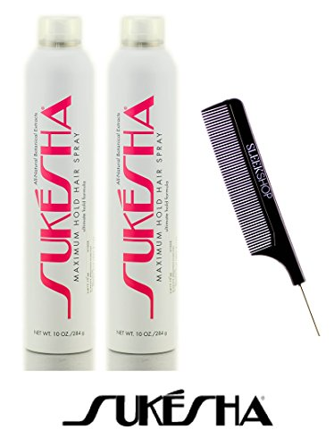 Sukesha Maximum Hold Hair Spray, ultimate hold aerosol formula (with Sleek Steel Pin Tail Comb) (10 oz / 284 gram - pack of (Maximum Pin)