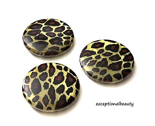 Leopard Print Mother Of Pearl MOP Brown Black Gold Flat Round Shell Beads