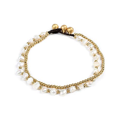 Artilady Pearl Anklet Bracelet for Women - Gold Anklet Layered Anklets Charm Pearl with Braided Rope Handmade Boho Anklet Foot Jewelry (Pearl Bells)