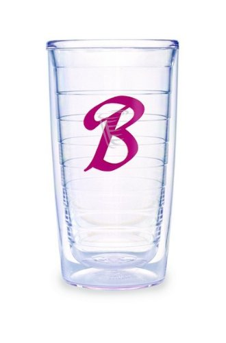 (Tervis Tumbler Fuchsia Laser Twill Initial - B 16-Ounce Double Wall Insulated Tumbler Set of 4)