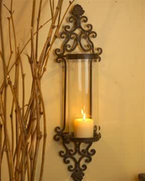 Amazon.com: Large Glass and Iron Wall Candle Sconce: Home ... on Iron Wall Sconces For Candles id=95511