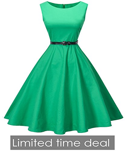 1960's Clothing (I2CRAZY Womens Boatneck Sleeveless Vintage 1950s Retro Rockabilly Prom Tea Dress with Belt  ,Small , F10)