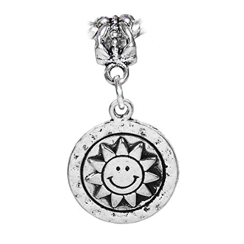 Sun Face Smiling Sunflower Hammered Metal Dangle Charm for European Bracelets Crafting Key Chain Bracelet Necklace Jewelry Accessories Pendants