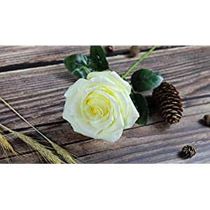 Yellow Paper Rose Handmade Realistic Artificial Flowers Unique Gifts For Her for Wedding Anniversary, Valentine Day, Mother's Day, Ideal for Home Wedding Party Decoration, 01 Single Long Stem 4