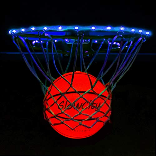 GlowCity Light Up LED Rim Kit with LED Basketball Included - Blue, Size 7 Basketball (Official Size) ()